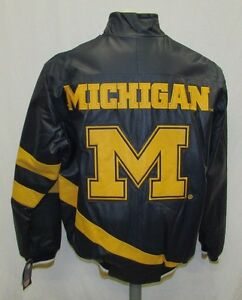 Michigan Wolverines NCAA Men's Full-Zip Embroidered Leather Jacket