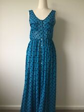 Cotton on Size S Maxi Dress Blue Polka Dot Festival Summer Sheer party occasion