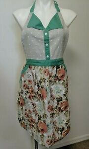 Kitchen Shabby Chic Apron by Artisan Studio 100% Cotton Floral Collared Pockets