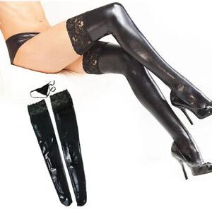 Women's Wetlook Stockings Slim Fit Skinny Tight Lace Faux Leather Clubwear Socks