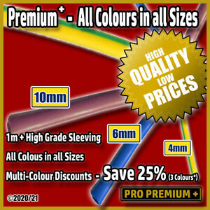 Wire/Cable Protection PVC Tubing Sleeves Brown,Blue,Green & Yellow 4,6,10mm 1m+