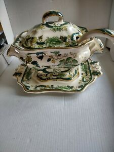 Mason's Ironstone Green Chartreuse Soup Tureen With Plate & Ladle Hand Painted
