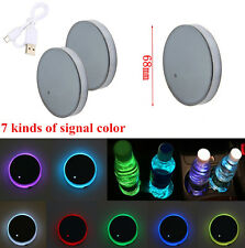 1 Pair Car Auto 68MM 7 Colors USB Charg LED RGB Cup Holder Cup Mat Coasters ABS
