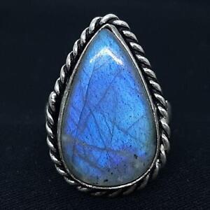 LARGE 12.25ctw Labradorite 925 Sterling Silver Ring Size 6.25 5.7g