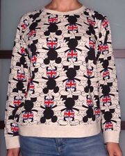 New Women's Large Disney Mickey Mouse British Union Jack Pullover Sweatshirt