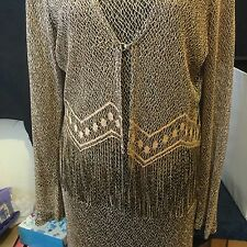 Vintage Harlow Dresses Mesh Fringe Gold Black Sleeveless With Jacket Sparkly
