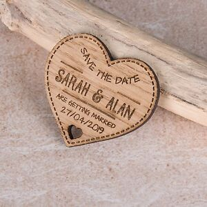 Personalised Engraved Rustic Wooden Heart Save The Date Fridge Magnets Invites