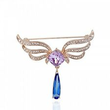 GORGEOUS 18K ROSE GOLD PLATED CUBIC ZIRCONIA PURPLE, CLEAR & BLUE DANGLE BROOCH