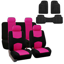 Pink Black Car Seat Covers with Heavy Duty Floor Mats Full 2 Row Set Auto