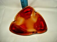 "Vintage   Red Art Glass 5"" Triangle Ashtray Mid Century Modern"