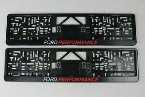 Original Ford Perfomance License Plate Holder 2 Piece Black with Logo 2372312 2x