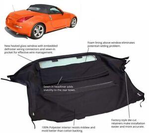 Fits: Nissan 350Z Convertible Soft Top & Heated Glass Window Black Twill