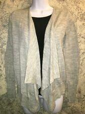 GAP cascade ruffle open front jacket duster cardigan sweater wool blend S gray