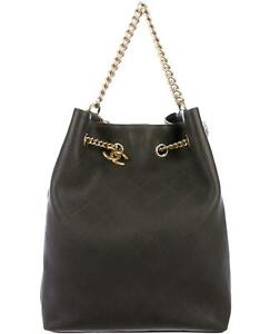 CHANEL LARGE ON MY SHOULDER QUILTED LEATHER BUCKET BAG