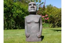 110cm Tall Easter Island Moai Man MGO Garden Sculpture Stone Effect Mottled Grey