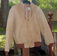 Vintage Carhartt Duck Work Jacket Coat Mesh lined Hooded Brown Khaki