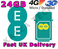 EE 4G PAYG 24GB 12 MONTHS INTERNET SIM CARD DATA PRE-LOADED 3G TABLET MIFI 12GB