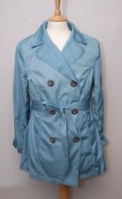 Ness women's sky blue polyester short double breasted trench raincoat mac uk 14