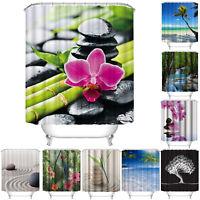 Verschiedene Muster Wasserfest Badezimmer Duschvorhang Panel Sheer Dekor + Haken