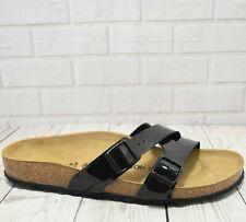 Women's Birkenstock Yao Balance Black Patent Leather Flat Sandals Narrow Fit