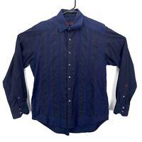 Robert Graham Men's Long Sleeve Dress Shirt Blue Black Stripped Flip Cuff Size M