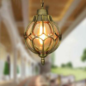Vintage Outdoor Balcony Glass Ball Pendant Light Waterproof Aluminum Chandelier