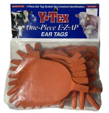 Y-Tex 1 Piece Ear Tag System For Livestock Identification Orange 25 Count New