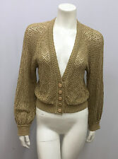 CATHERINE MALANDRINO SWEATER TOP KHAKI KNIT CROCHET GREAT BUTTONS SIZE S