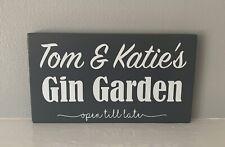 Personalised Garden Bar Gin Garden Patio Plaque Sign Fun Wooden Grey - Any Name
