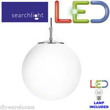 SEARCHLIGHT 6077 ATOM SATIN SILVER LED 5.9W PENDANT LIGHT OPAL GLASS SPHERE