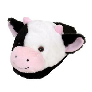 Fuzzy Cow Slippers -Black and White Holstein Cattle Slippers- For Men and Women
