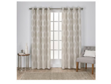 Exclusive Home Curtains Montrose Ogee Geometric Textured Linen Grommet Top Pair