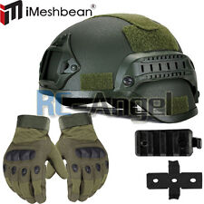 MICH 2000 Airsoft Tactical Hunting Combat Helmet w/ Full Finger Gloves USA