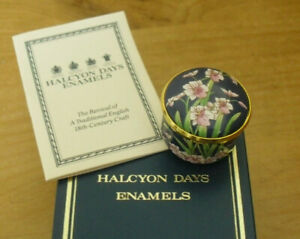 "Boxed Halcyon Days Pink Orhids Screw-Top Enamel Box - <1 1/4""(3cms)"