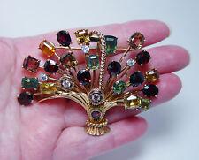 Huge Vintage 25ct Natural Tourmaline European Diamonds Brooch 14K 1.5oz Heavy