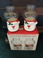 "A Set Of 2 NWT Mini Hurricane ""santa"" Vintage Lamps"