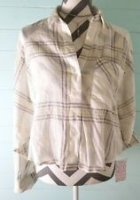 Free People FP Cropped Cutie Plaid Top Ivory Yellow Button Front LS Sz S NWT $88