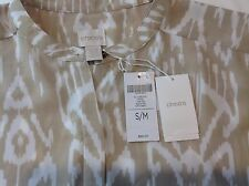 NWT $89 CHICO'S All Over Ikat Angie Top Blouse Cap Sleeve Khaki/White Sz S/M