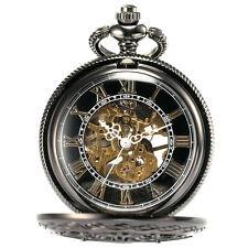 Mens Steampunk black pocket copper mechanic watch M9E1