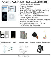256Gb Ssd Custom Refurb Apple iPod Video 5.5 Gen Mint Condition Black or White