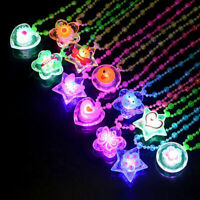 LED Flashing Necklace Cartoon Animals Light Up Pendants Heart Flower Party E3F4