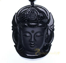 20inch 100% Natural obsidian pendant necklace energy sculpture Avalokitesvara