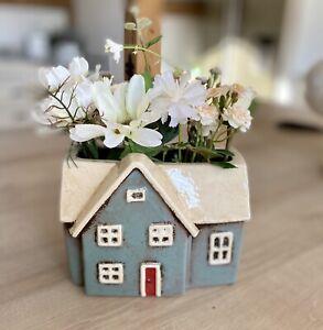 Ceramic Village Cottage Plant Pot Holder Pottery Ornament Houseplant Plant Pot