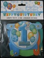 1st BIRTHDAY BLUE/BOY BALLOONS JOINTED HAPPY BIRTHDAY PARTY BANNER 1.19m