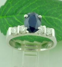 14k Solid White gold Natural Diamond & Oval Sapphire Ring 2.01 ct