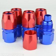 AN10 -10 forgé droit raccord rouge & bleu (pack 5) pour huile carburant eau