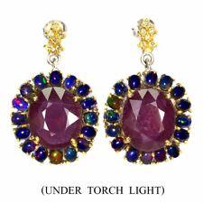Oval Ruby 16x13mm Black Opal Sapphire Daimond Cut 925 Sterling Silver Earrings