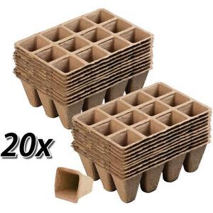 20pcs 12Cells Seed Starter Trays Pots Biodegradable Seedling Starter W/20 Labels