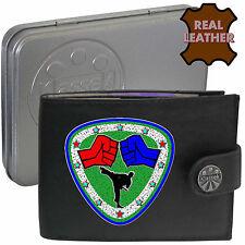 SCUDO Taekwondo Arti Marziali Karate Accessorio klassekl Leather Wallet regalo di latta
