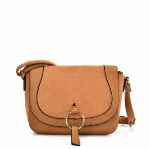 Ladies Saddle Bag EARTH YELLOW Simple Leather Designer Bags Shoulder Strap UK